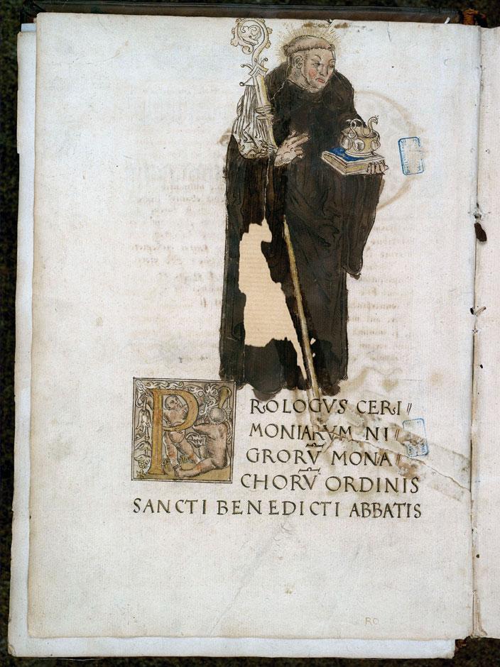 Cérémonial à l'usage de l'abbaye de Saint-Amand/Ordinaire à l'usage de l'abbaye de Saint-Amand - Saint Benoît et la coupe empoisonnée_0