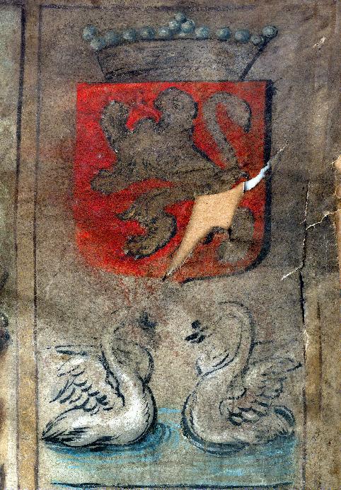 Indulgences accordées à la confrérie de Saint-Sébastien à Valenciennes - Page décorée, avec armes (à identifier)_0