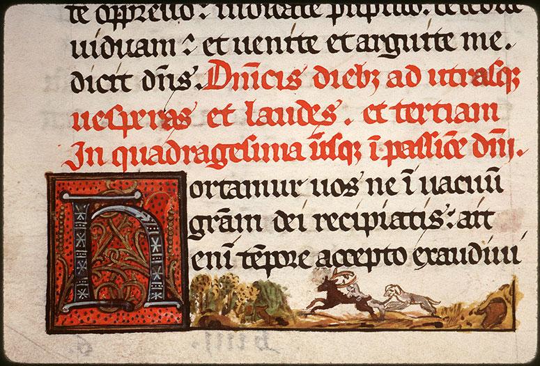 Collectaire à l'usage de l'abbaye Saint-Pierre de Corbie - Chiens poursuivant un cerf_0