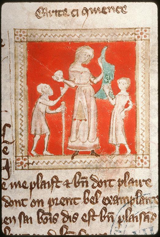 Roman de Carité - Charité présentant un pain et un vêtement à des pauvres_0