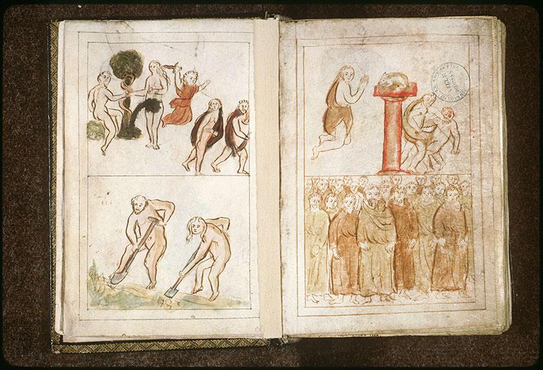 Bible en images - Chute d'Adam et Eve/Adam et Eve chassés du Paradis_0