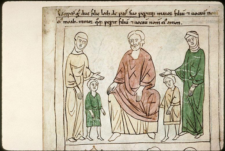 Bible en images - Lot, ses deux filles et leurs fils, Moab et Ammon_0