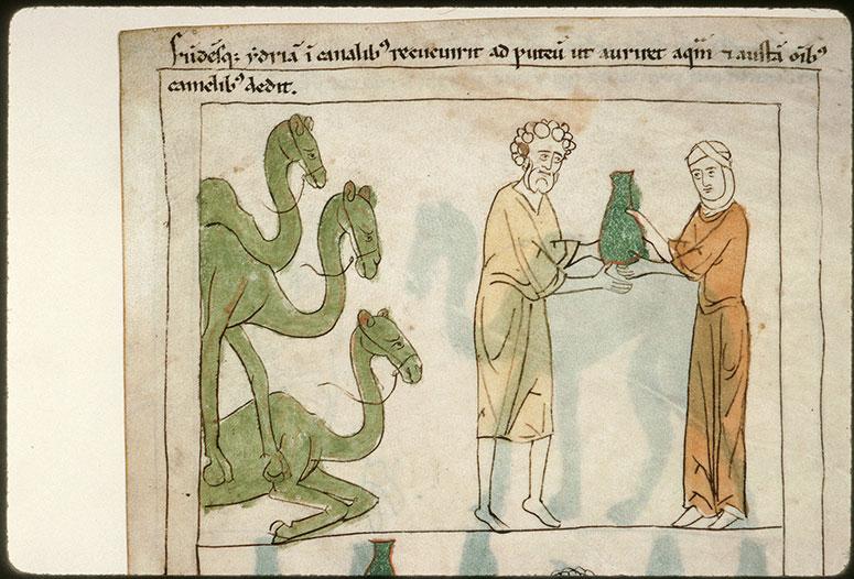 Bible en images - Rébecca donnant à boire à Eliézer_0