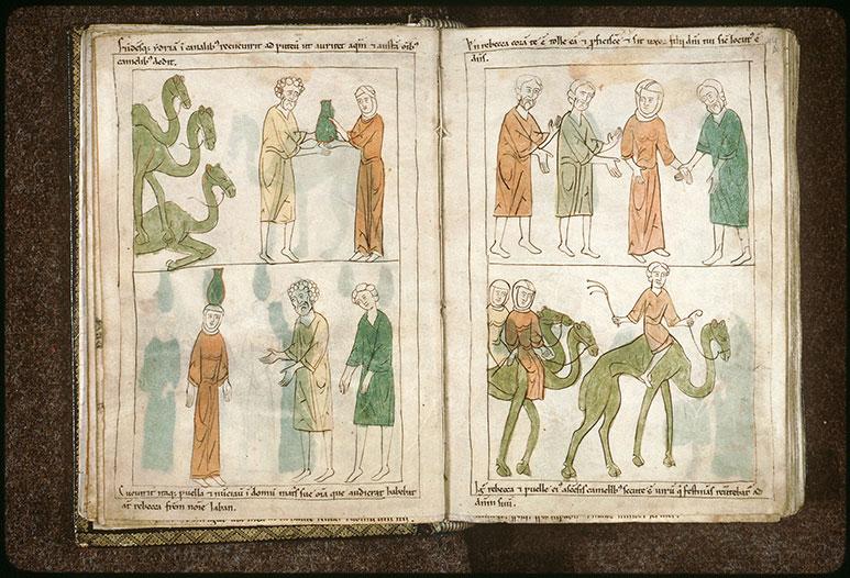 Bible en images - Rébecca devant Bétuel et Laban après sa rencontre avec Eliézer_0