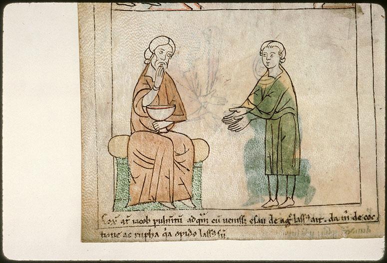 Bible en images - Esaü cédant son droit d'aînesse à Jacob_0