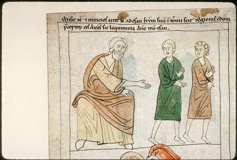 Bible en images - Jacob dépêchant des messagers au-devant d'Esaü_0