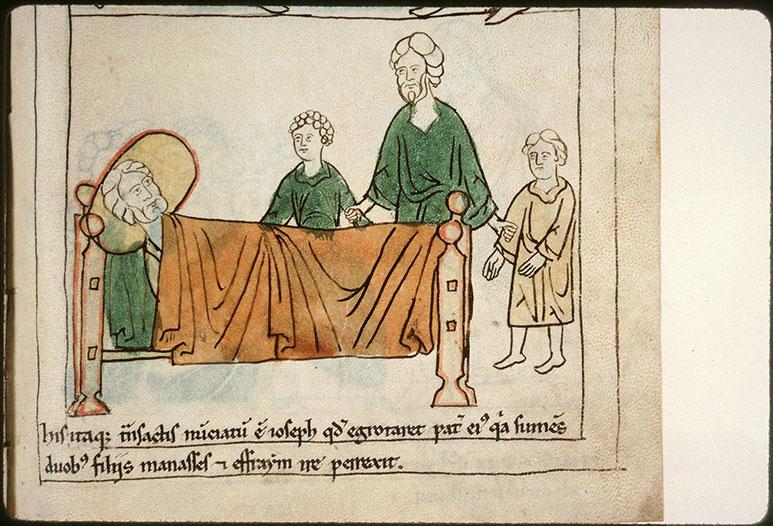 Bible en images - Joseph amenant Ephraïm et Manassé au chevet de Jacob malade_0