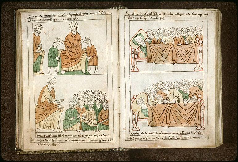 Bible en images - Jacob bénissant Ephraïm et Manassé_0