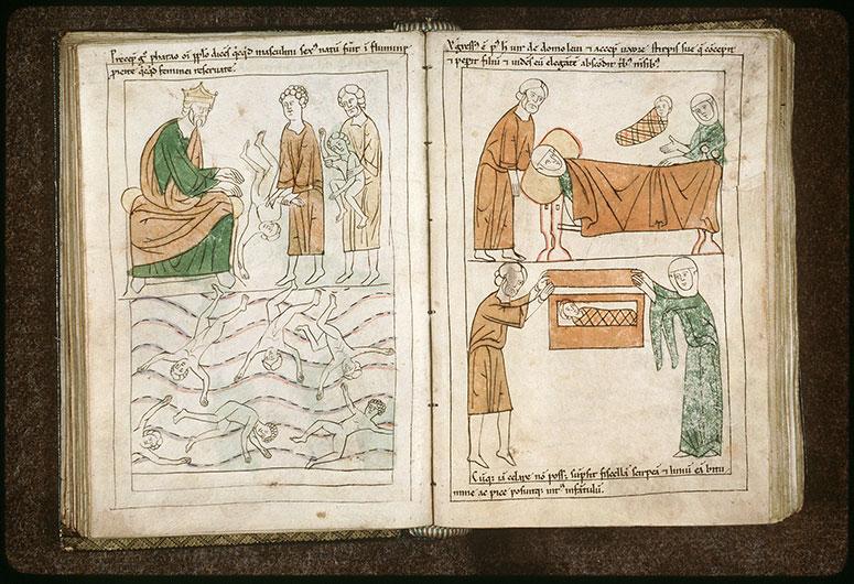 Bible en images - Pharaon faisant jeter les fils nouveaux-nés des Hébreux dans le Nil_0