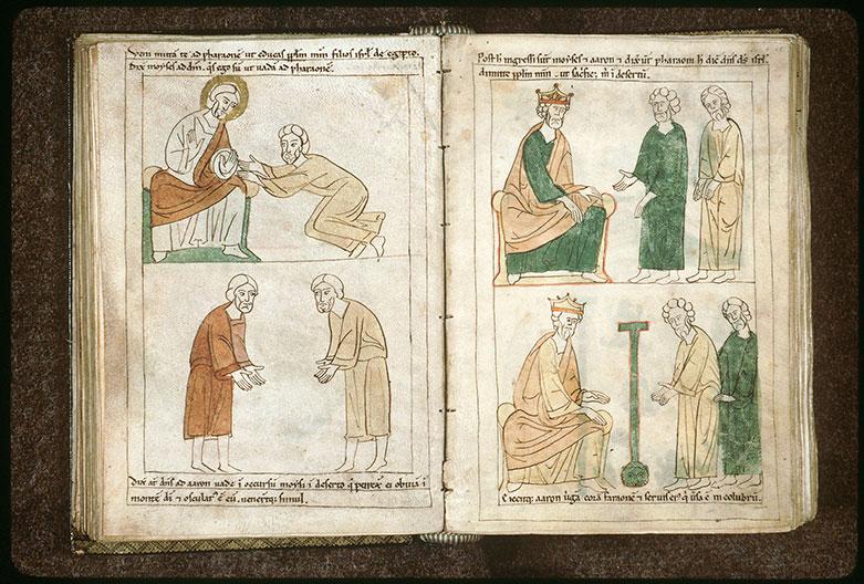 Bible en images - Miracle du bâton changé en serpent devant Pharaon_0