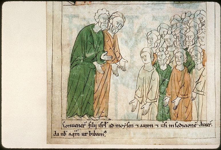Bible en images - Peuple demandant à boire à Moïse et Aaron_0