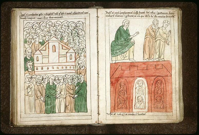 Bible en images - Incendie de Jéricho, épargnant la maison de Rahab_0