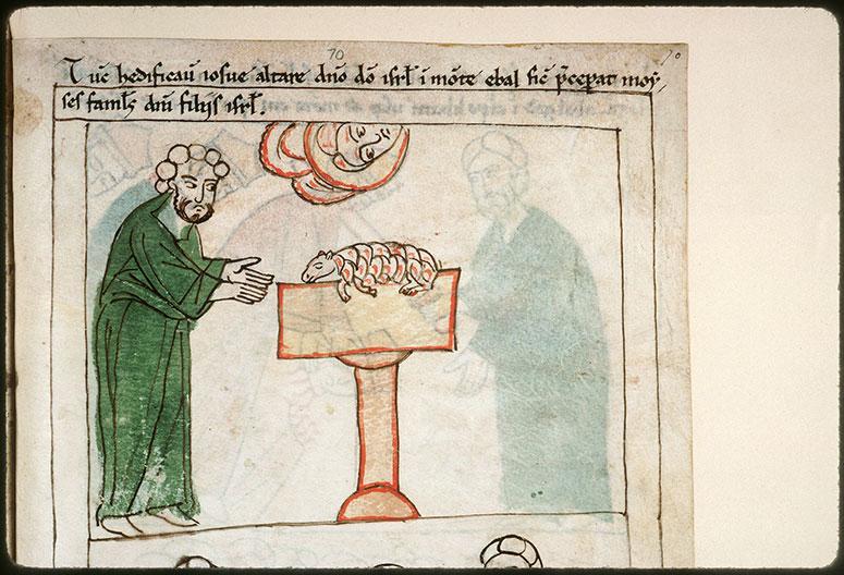 Bible en images - Josué sacrifiant sur l'autel du mont Ebal_0