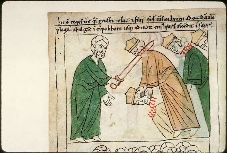 Bible en images - Josué tuant les rois établis à l'ouest du Jourdain_0