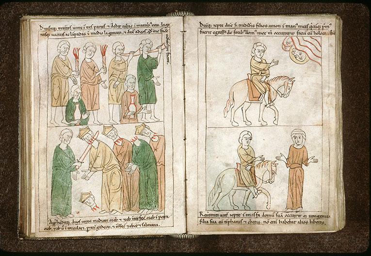 Bible en images - Hommes de Gédéon armés de torches, cors et cruches pour vaincre Madiân_0