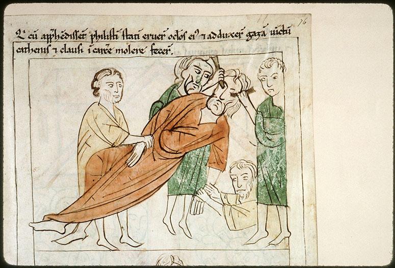 Bible en images - Philistins crevant les yeux de Samson_0