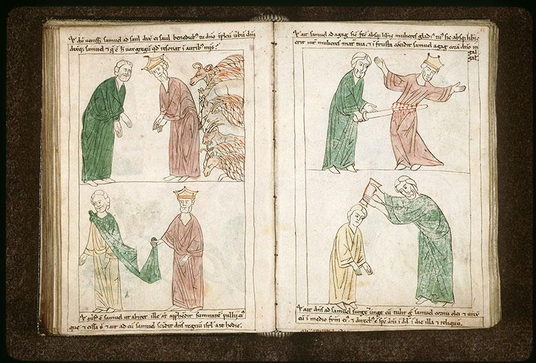 Bible en images - Samuel interrogeant Saül sur le bétail épargné des Amalécites_0
