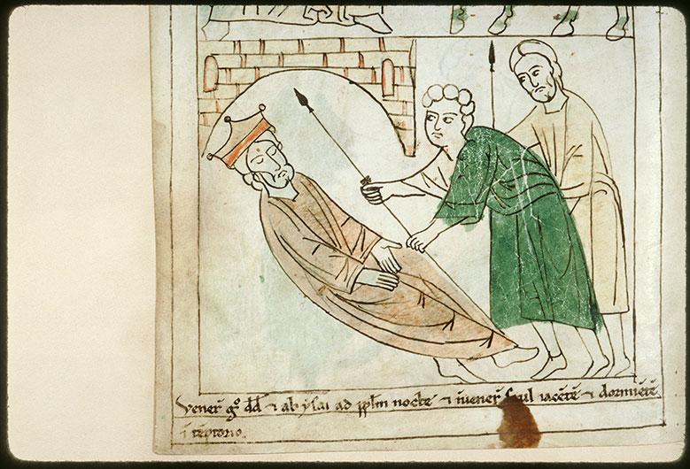 Bible en images - Lance de Saül dérobée pendant son sommeil_0