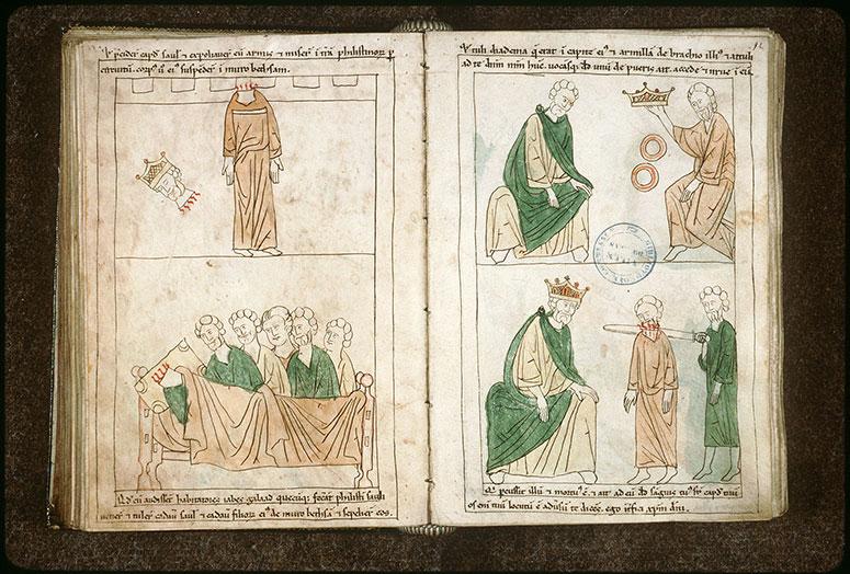 Bible en images - Yabeshites rendant hommage à Saül_0