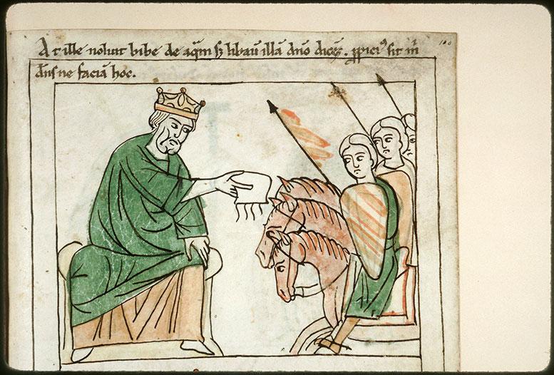 Bible en images - David répandant l'eau des trois preux en libation_0