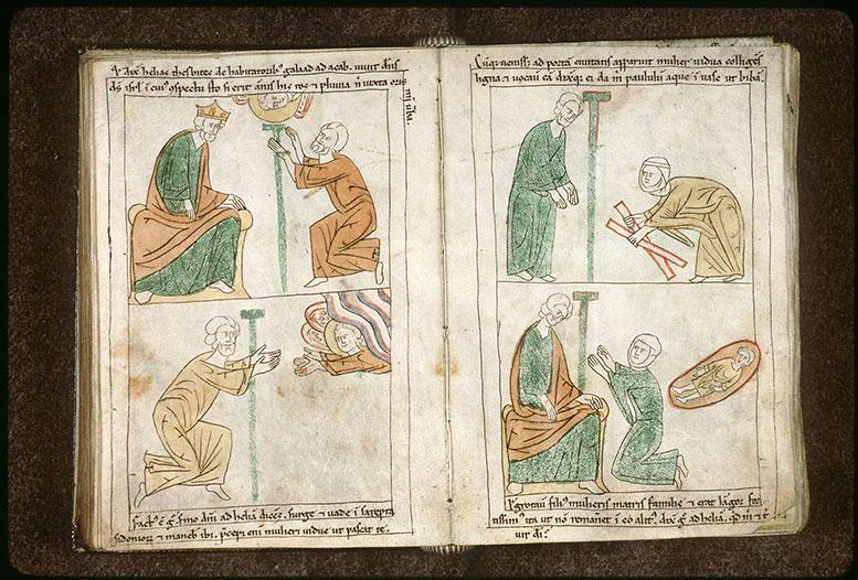 Bible en images - Veuve de Sarepta suppliant Elie pour son fils_0