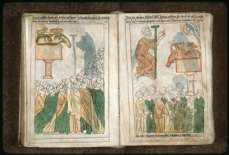 Bible en images - Prophètes de Baal invoquant leur dieu lors du sacrifice du mont Carmel_0