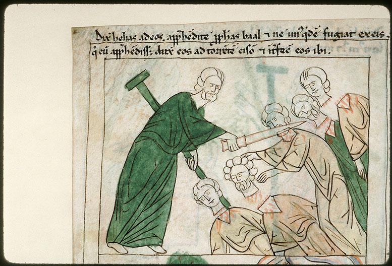 Bible en images - Elie massacrant les prophètes de Baal_0