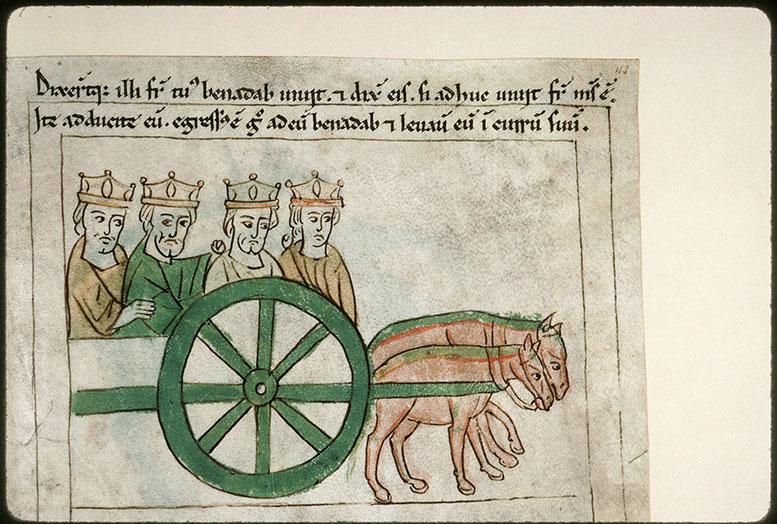 Bible en images - Ben-Hadad II et ses rois vassaux dans le char d'Achab_0