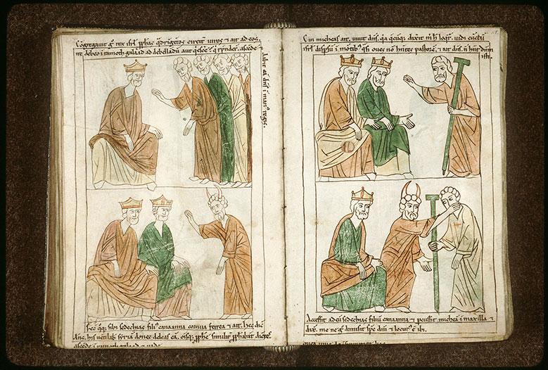 Bible en images - Sédécias fils de Kanaana prédisant la victoire à Achab et Josaphat_0