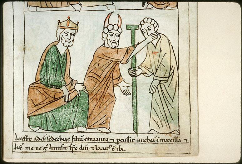Bible en images - Sédécias fils de Kanaana frappant Michée fils de Yimla devant Achab_0
