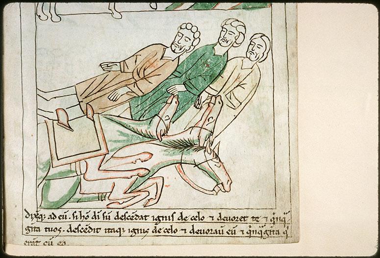 Bible en images - Mort des soldats d'Ochozias envoyés auprès d'Elie_0