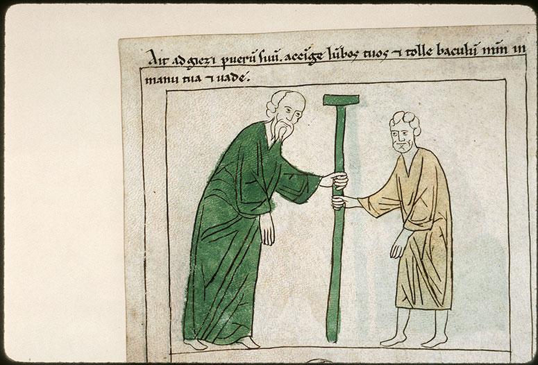 Bible en images - Elisée remettant son bâton à Géhazi_0