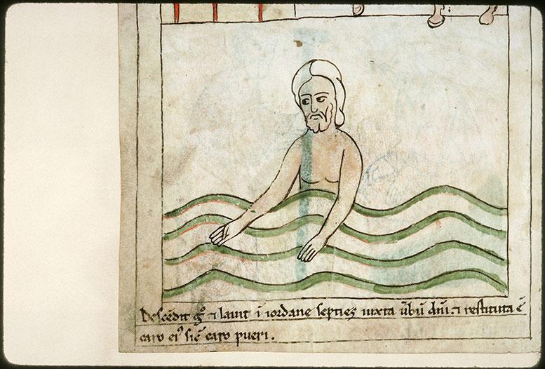 Bible en images - Naamân guéri de la lèpre en se baignant dans le Jourdain_0