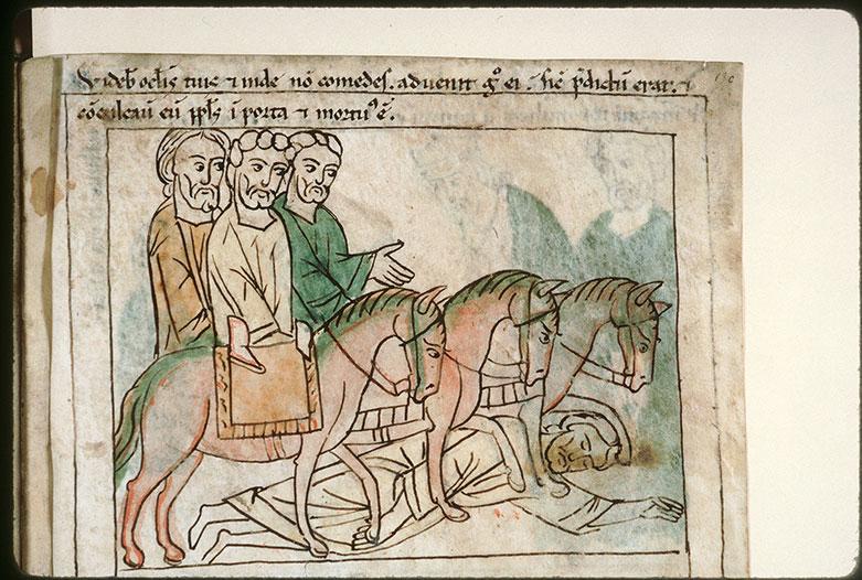 Bible en images - Homme doutant de la parole d'Elisée piétiné par des cavaliers_0