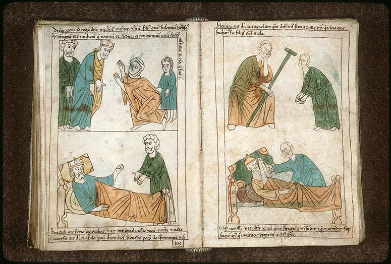 Bible en images - Ben-Hadad II, malade, envoyant Hazaël consulter Elisée_0