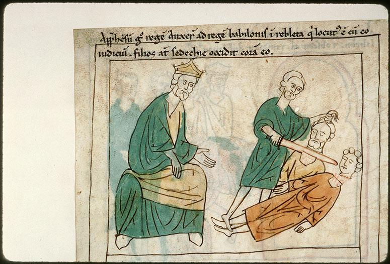 Bible en images - Nabuchodonosor ordonnant l'exécution des fils de Sédécias_0