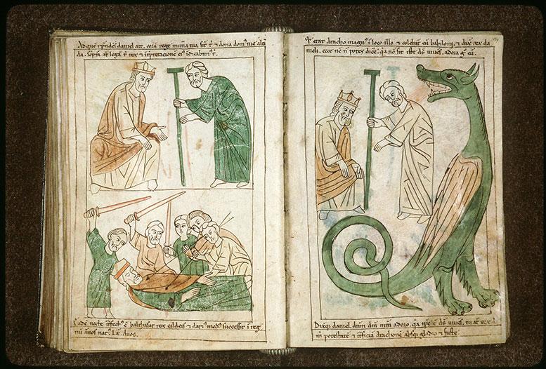 Bible en images - Daniel expliquant à Balthasar l'inscription 'Mane, Thecel, Phares'_0