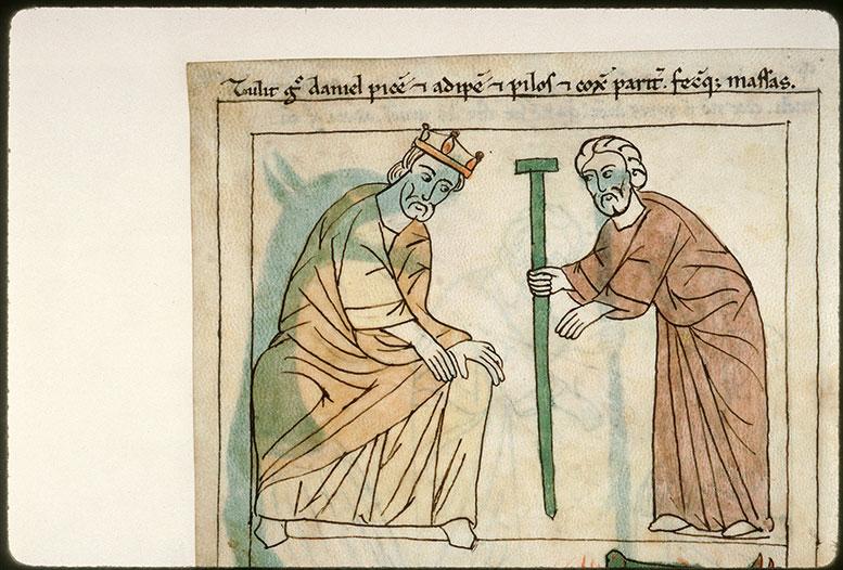 Bible en images - Daniel empoisonnant le dragon sacré des Babyloniens devant Cyrus_0