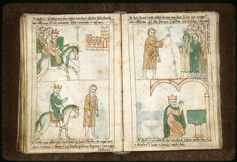 Bible en images - Sennachérib et son armée chevauchant vers une ville de Juda_0