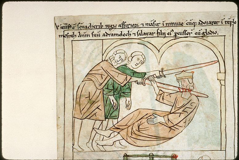 Bible en images - Assassinat de Sennachérib par ses fils Adrammélek et Saréçer_0