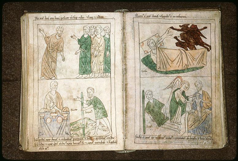 Bible en images - Mort de Lazare et son âme déposée dans le sein d'Abraham_0
