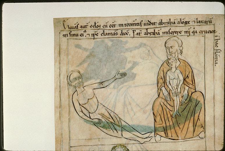 Bible en images - Mauvais riche implorant Abraham, Lazare en son sein (Le)_0