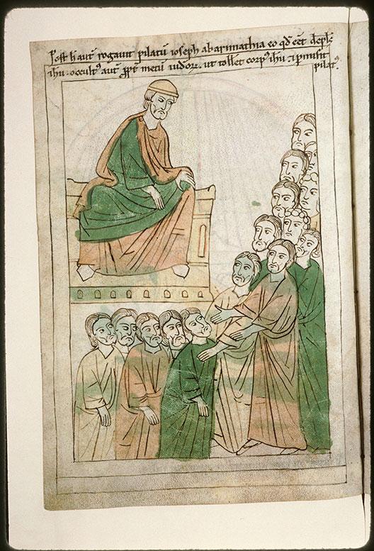 Bible en images - Joseph d'Arimathie réclamant à Pilate le corps de Jésus_0
