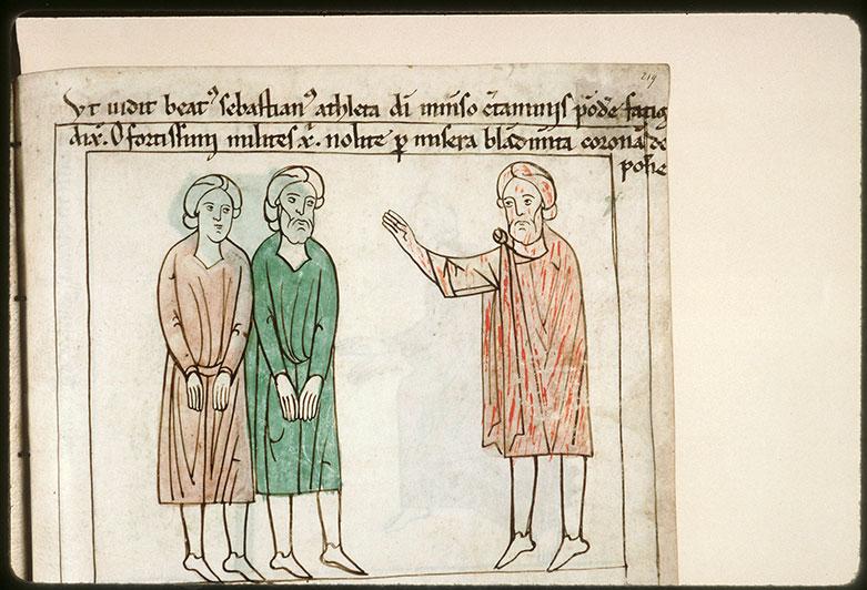 Bible en images - Saint Sébastien s'adressant aux saints Marc et Marcellien prisonniers_0