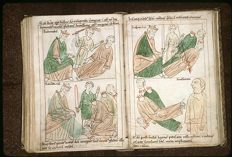 Bible en images - Corps des saints Abdon et Sennen jetés au pied de l'idole du Soleil_0