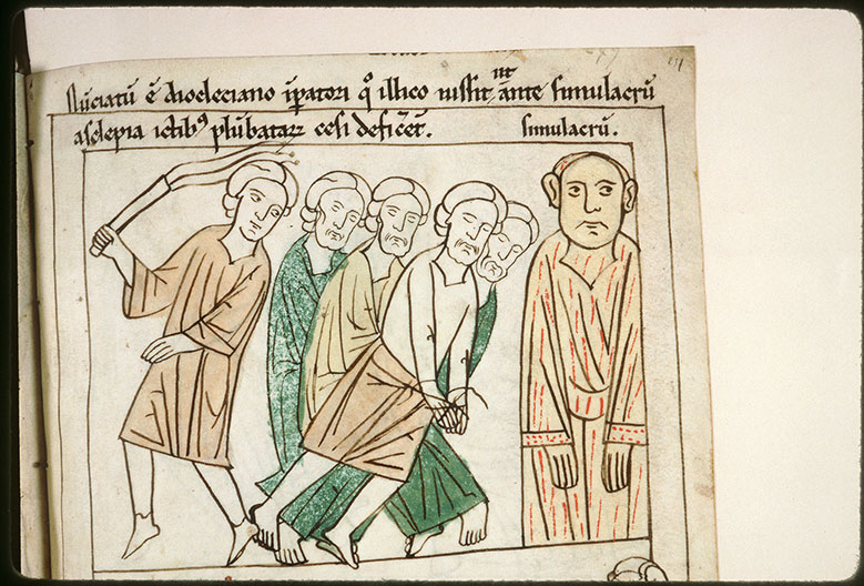 Bible en images - Flagellation des Quatre Couronnés devant l'idole d'Esculape_0