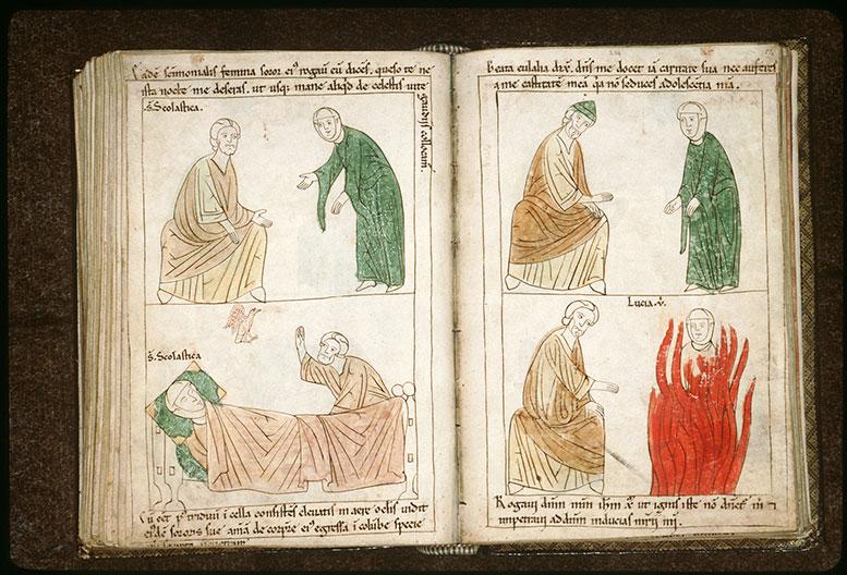 Bible en images - Sainte Scolastique demandant à saint Benoît de ne pas la quitter_0