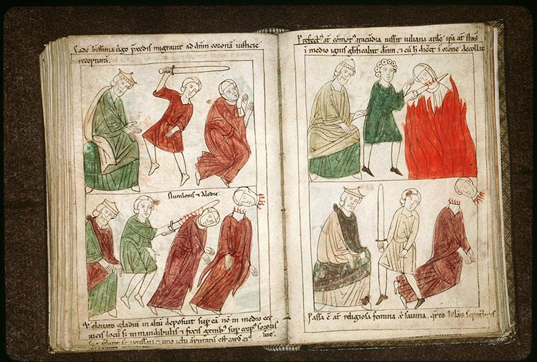 Bible en images - Evilasius et la décollation de sainte Julienne au milieu des flammes_0