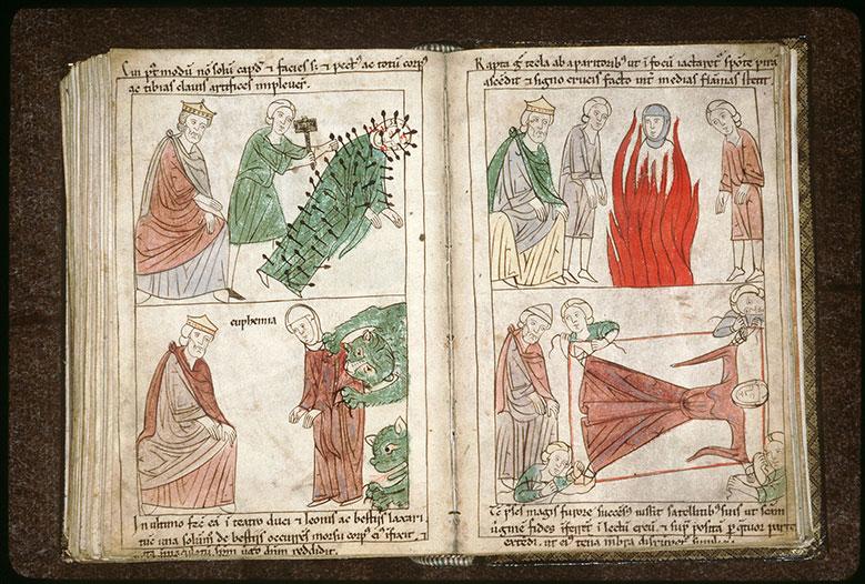 Bible en images - Dacien et sainte Foy étendue sur un lit en airain_0