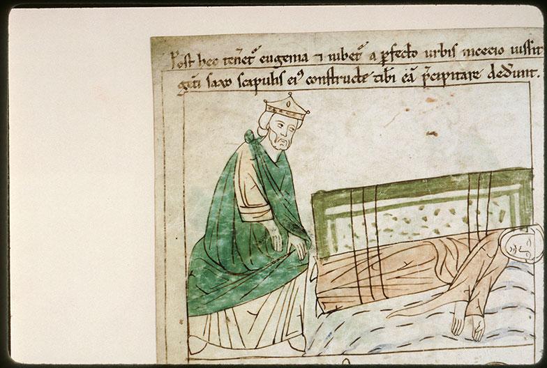 Bible en images - Gallien et sainte Eugénie tombant dans le Tibre_0